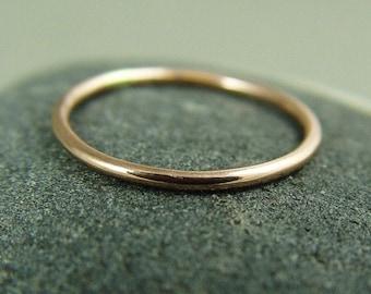 14K gold Stacking Ring / Solid Rose Gold Ring / 14K Skinny Ring / Solid 14k Gold Wedding Ring