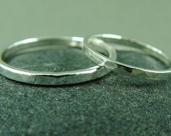 Silver Wedding Ring Set / His and Hers Wedding Bands / Rustic Wedding Rings/ Minimalist Weddings Rings
