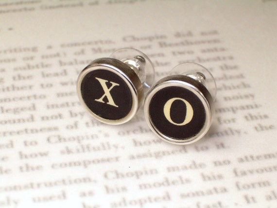 Typewriter Key Jewelry Stud Earrings With XO - Hugs and Kisses - Vintage Typewriter Jewelry By HauteKeys