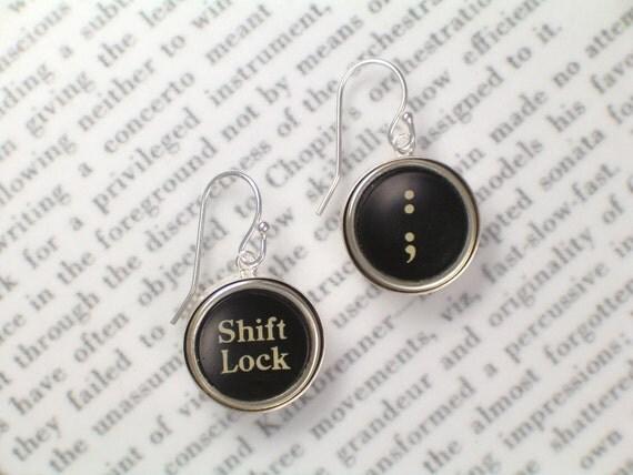 Typewriter Earrings With Shift Lock & Colon - Typewriter Key Jewelry By HauteKeys