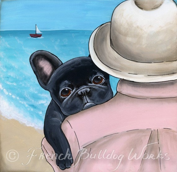 A Day At The Beach --French Bulldog Print from Original Painting