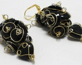 Clusters - Wire-wrapped glass bead dangle earrings for wedding special occasions with clear, black, green or choice of color