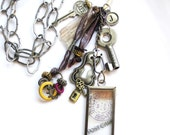 Industrial Chic necklace - glass pendant, postcard, locks, keys, travel - Life Is a Journey