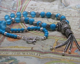 Turquoise and Silver Tassle Necklace