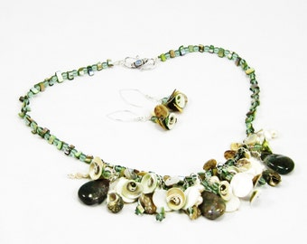 Fancy Jasper , pearls, shells, and Czech glass- Necklace and Earrings - Sea Nymph