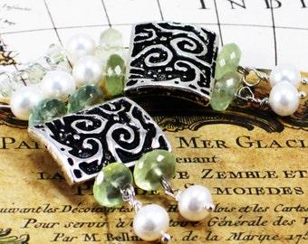 Oceania - Seafoam Prehnite gemstones and Freshwater pearl earrings
