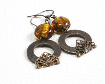 Dangle earrings of antiqued bronze hammered cirlces with filigree and lampworked bronze glass beads -  fall autumn -Bronzed Beauties