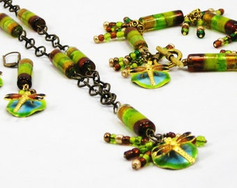 Dragonfly -  Necklace Bracelet and Earrings - enameled greens gold blue lily pad pond nature