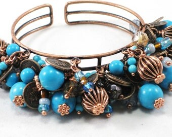 Turquoise and copper Cha Cha bracelet and earrings - Charro