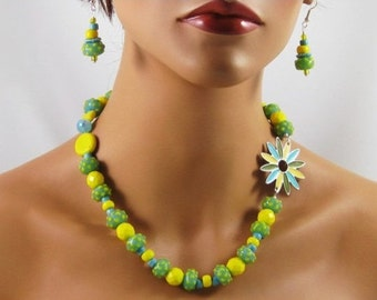 Limoncello Necklace and Earrings - lemon, lime, lamp worked beads, enameled daisy flower focal, fresh, fruity, summertime