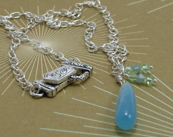 Sea blue chalcedony teardrop and Swarovski crystals sterling silver necklace - Something Blue, bride, wedding
