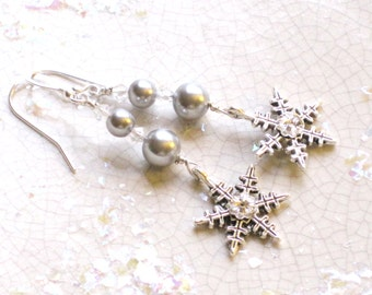 Snow Princess earrings - glass pearls with pewter snowflake charm - winter wedding, snowflake, grey pearl, glam