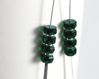Emerald Glass Paddle style dangle earrings