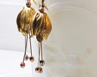 Gold lotus leaf bud dangle earrings with Swarovski crystals - fall, natural, flower, customize