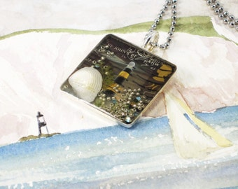 postage stamp under resin sterling silver pendant necklace - nautical, The Lighthouse