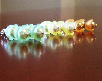 Swarovski pearl and resin flower petal earrings in choice of colors - Sweet Buds