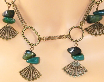 Vintage style antiqued brass green agate necklace earrings - Titanic era inspired