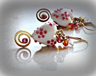 Swirly Heart dangle earrings - lampworked glass hearts pink, lavender, gold swirls, valentine, love, wedding