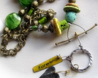 Industrial chic, mixed metals, mixed media long necklace, spring green - Forever in my Heart, metal heart