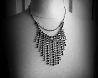 Rhinestone waterfall bib necklace - black and clear crystal rhinestones, dressy, black tie, wedding