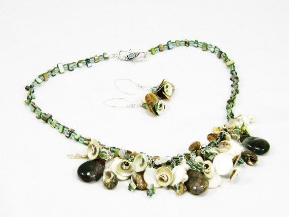 Sea Nymph - Fancy Jasper , pearls, shells, and Czech glass- Necklace and Earrings