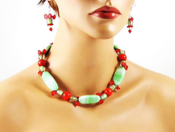 Fiesta Necklace and Earrings - lime green thread wrapped beads red hand carved coral mexican flag festive