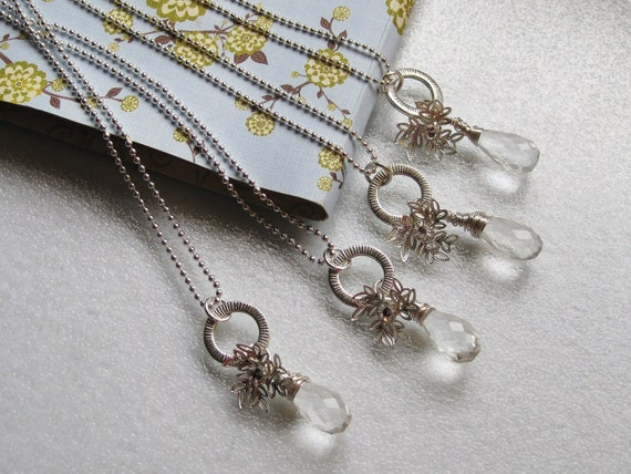 Snowflake and crystal bridesmaids necklace  - set of four, weddings, silver, winter