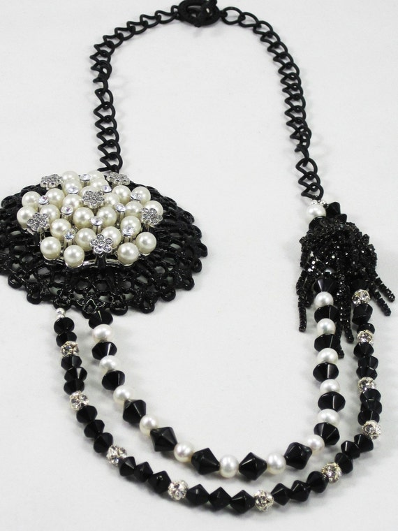 Cultured pearl and black crystal with vintage focals asymetrical statement necklace - Midnight Magic