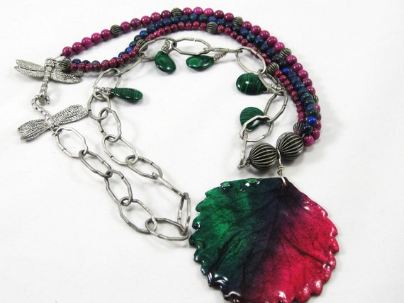 Preserved handpainted leaf necklace with malachite and fossil beads pewter dragonfly  Wine Country purple green blue colors