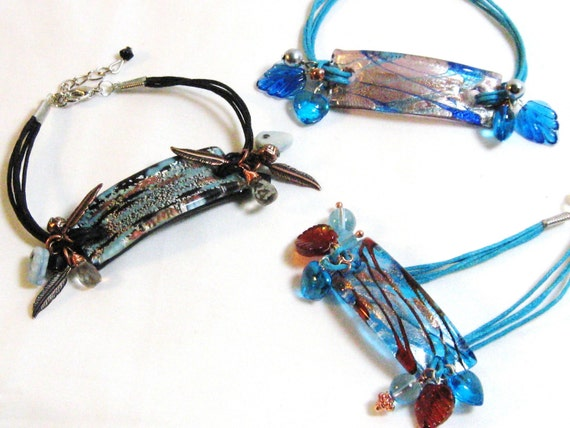 Lampworked Glass and Charms Bracelet blue black copper red semiprecious stones