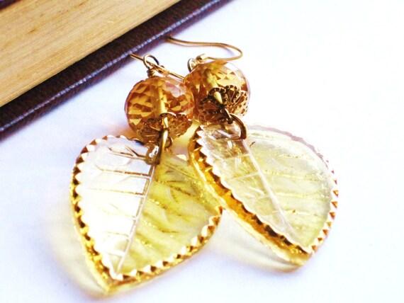 Golden autumnal glass leaf and citrine dangle earrings - golden, autumn, fall, citrine