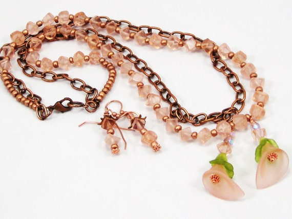 frosted rose colored resin calla lily with rose quartz nuggets and copper -  elegant, garden inspired, Calla Lily necklace and earrings