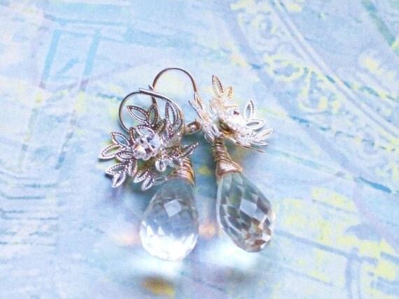 Snowflake and crystal teardrop earrings -  winter, wedding, bridesmaids