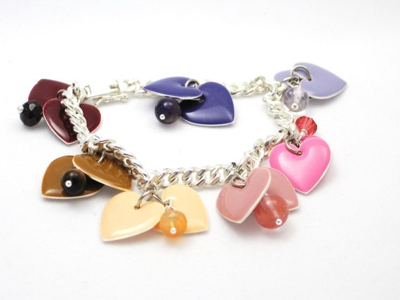 Pastel enameled hearts, semi precious gemstones, valentine, purple, pink, red, peach, brown, gift for her - Girly Hearts Bracelet