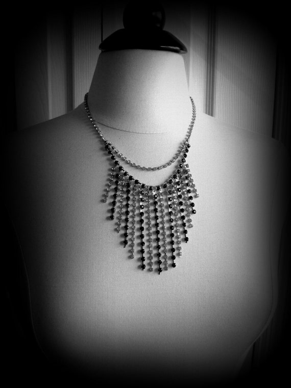 Rhinestone waterfall bib necklace - black and clear crystal rhinestones, dressy, black tie, wedding
