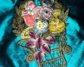 Antique Metallic Applique with Ribbonwork flowers, velvet, art deco, French, 1920's