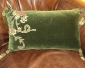 Antique Silk Velvet Chenille Art Nouveau Floral Metallic Applique Pillow with Metallic Bullion Tassels