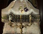 Antique 1920s Beaded Lampshade Original Candelabra base Pansies Silk Velvet Metallic lace Ribbonwork On Hold