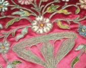 Antique Silk Embroidered Chenille Metallic Applique Runner French Last of Pair 19th C SOLD