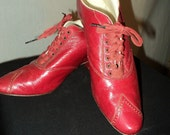 1900s Turn of the Century Ladies Red Shoes Louis Heel Museum collection Victoria and Albert ON RESERVE
