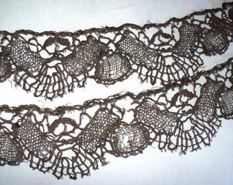 19th C Metallic Lacey Heavy Dark Bronze Trim French Great Patina Yardage about 6 total