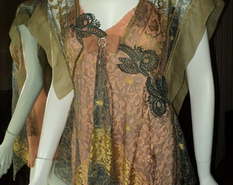 Antique Handmade Tunic Top Victorian Beaded Appliques, French Silk Rhinestone Bow, Silk Lace Bellasoiree original