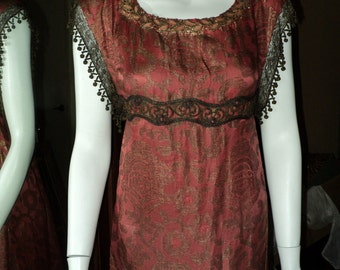 Antique Museum Quality 1800's couture Court Dress Napoleon Era Fortuny style Fabric Lame SALE
