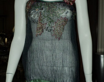 Vintage Crinkle silk hand made top with antique trim and beaded metallic lace applique 1920s Bellasoiree original