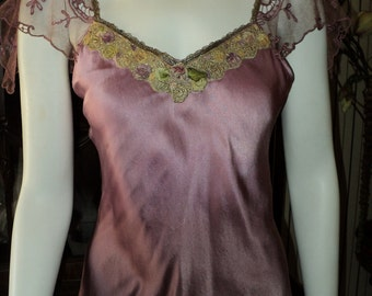 Antique Handmade 1920s Camisole Top Metallic trim antique ribbonflower ribbonwork Silk Bellasoiree original Floral trim Tambour Lace Sleeves
