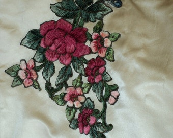 Antique Turn of the Century Victorian Chenille and Metallic Applique French Unused Original Colors Floral Applique