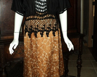 Antique Victorian Skirt with Black Chantilly Lace Long Ruffled Steampunk Wearable good condition