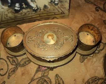Antique French Ormulu Vanity Perfume holder Marie Antionette Style 1800s velvet Hallmark Regency FINAL SALE