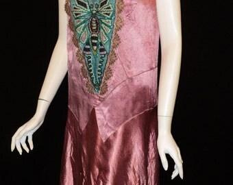 SALE 1920's dragonfly flapper party dress Bellasoiree Original design all antique trims and appliques