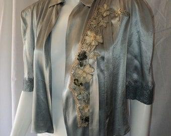 Edwardian/ Art Deco Bed Jacket Embellished with Floral Applique Soutache and Sequins Basket metallic lace